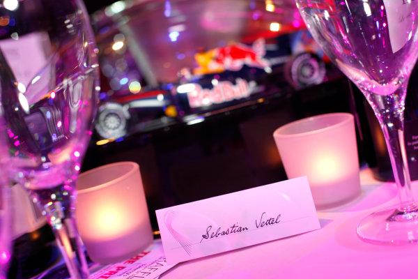 Grosvenor House Hotel, Park Lane, London 4th December 2011 Sebastian Vettel's place at his table.World Copyright: Drew Gibson/LAT Photographic ref: Digtal Image DG5D0315