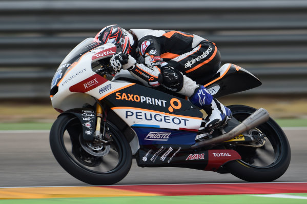 2017 Moto3 Championship - Round 14 Aragon, Spain. Saturday 23 September 2017 Patrik Pulkkinen, Peugeot MC Saxoprint World Copyright: Gold and Goose / LAT Images ref: Digital Image 13925