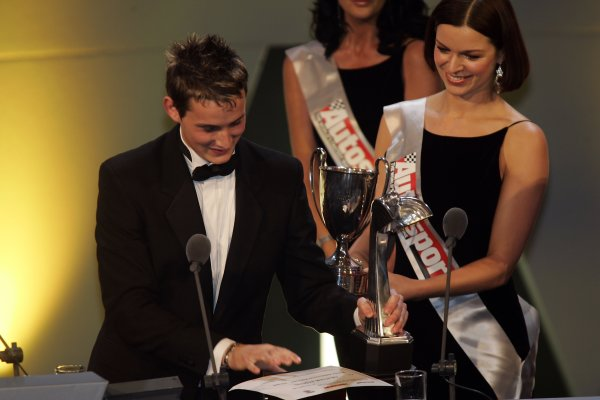 2005 Autosport AwardsGrosvenor House, London. 4th December.McLaren Autosport BRDC Young Driver Award winner Oliver Jarvis receives his trophies.World Copyright: Malcolm Griffiths/LAT Photographicref: Digital Image Only