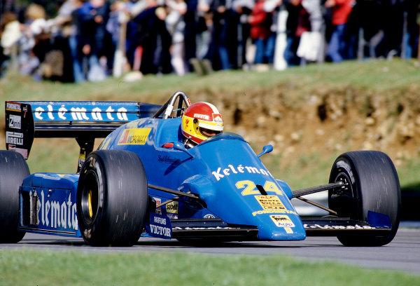 1985 European Grand Prix.Brands Hatch, England.4-6 October 1985.Huub Rothengatter (Osella FA1G Alfa Romeo).  Ref: 85EUR40. World Copyright - LAT Photographic