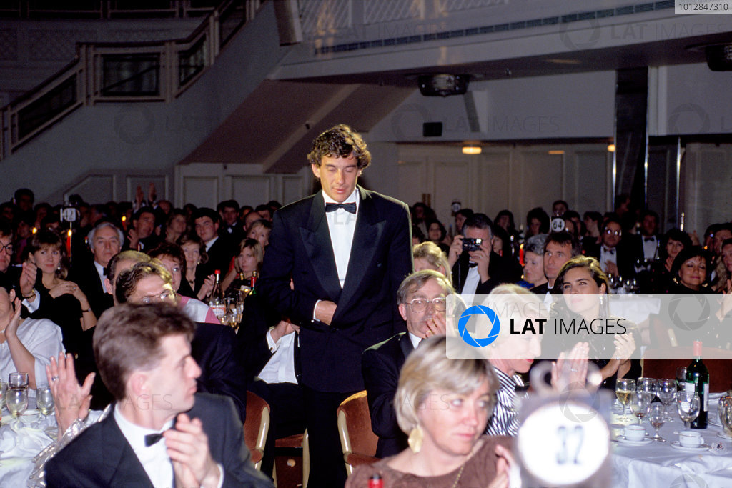 1991 Autosport Awards. Grosvenor House Hotel, Park Lane, London. Ayrton Senna.World Copyright: LAT Photographicref: 35mm Transparency Image
