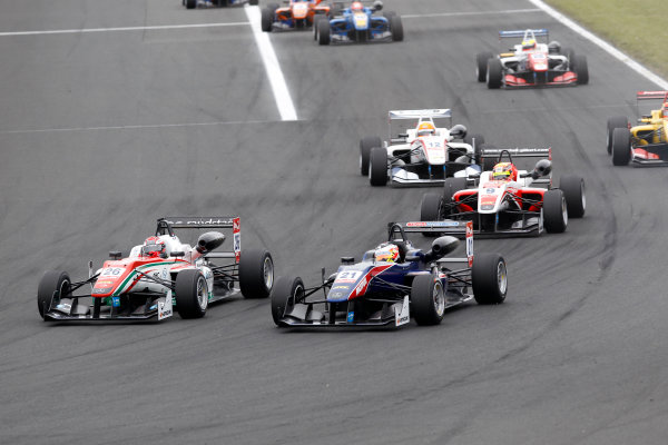 2014 FIA European F3 Championship Round 4 - Hungaroring, Budapest, Hungary 30th May - 1st June 2014 Dennis van De Laar (NED) Prema Powerteam Dallara F312 ? Mercedes, Felix Serrales (PRI) Team West-TecF3 Dallara F312 ? Mercedes World Copyright: XPB Images / LAT Photographic  ref: Digital Image 3142012_HiRes