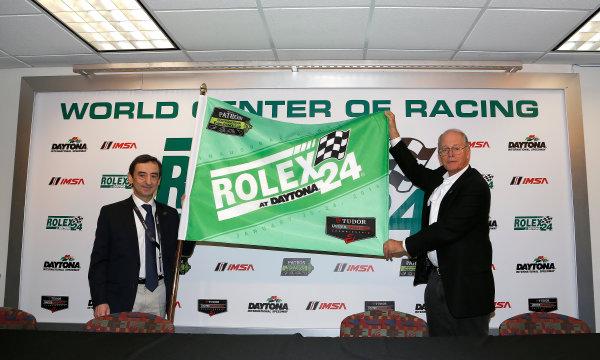 2014 TUDOR United Sportscar Championship Rolex 24 Hours Daytona 23-26 January, 2014, Daytona Beach, Florida, USA Pierre Fillon of the ACO and Jim France of IMSA with the green flag © 2014, Michael L. Levitt LAT Photo USA