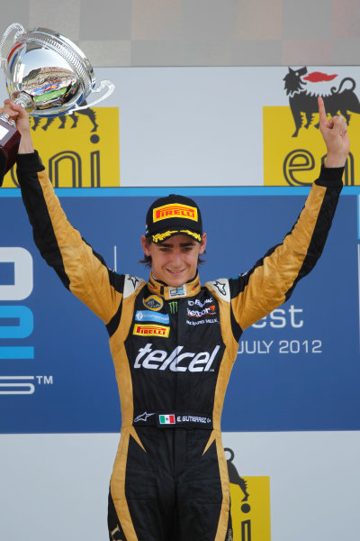 Hungaroring, Budapest, Hungary. 29th July 2012.Sunday Race.Esteban Gutierrez (MEX, Lotus GP) celebrates his victory on the podium. World Copyright: Andrew Ferraro/GP2 Media Serviceref: Digital Image _Q0C5865.jpg