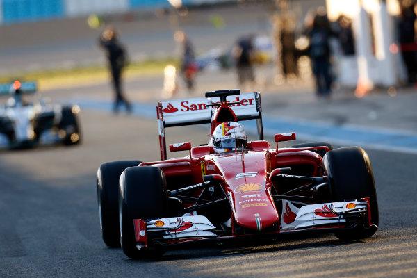2015 F1 Pre Season Test 1 - Day 1 Circuito de Jerez, Jerez, Spain. Sunday 01 February 2015. Sebastian Vettel, Ferrari SF15-T. World Copyright: Alastair Staley/LAT Photographic. ref: Digital Image _79P8457