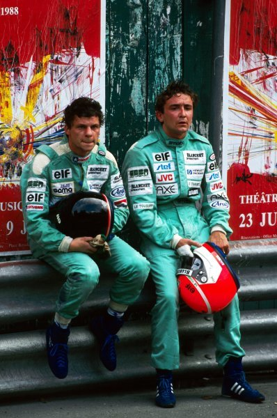 (L to R): Olivier Grouillard (FRA) GBDA sits with his team mate Michel Trolle (FRA) after they crashed together on lap 54. International Formula 3000 Championship, Rd 3, Pau, France, 23 May 1988.