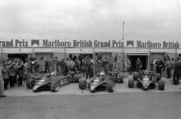 (L to R): The Lotus 88B of Nigel Mansell (GBR), Elio de Angelis (ITA) and a spare. The cars were banned from racing and the team reverted to the Lotus 87. British GP, Silverstone, 18 July 1981