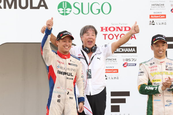 2017 Japanese Super Formula. Sugo, Japan. 23rd - 24th September 2017. Rd 6. Winner Yuhi Sekiguchi ( #19 ITOCHU ENEX TEAM IMPUL SF14 ) podium portrait World Copyright: Yasushi Ishihara / LAT Images. Ref: 2017_SF_Rd6_011