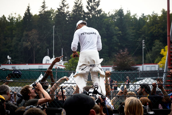 Spa Francorchamps, Belgium.  Sunday 27 August 2017. Lewis Hamilton, Mercedes AMG, 1st Position, celebrates victory with the fans. World Copyright: Steve Etherington/LAT Images  ref: Digital Image SNE12767