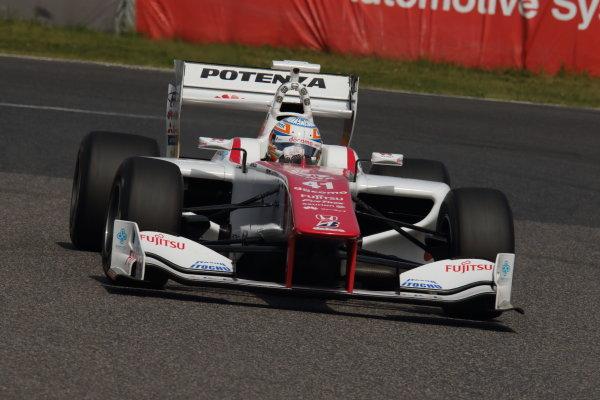 2015 Super Formula Series. Suzuka, Japan. 18th - 19th April 2015. Rd 1. 3rd position Narain Karthikeyan ( #41  DOCOMO DANDELION M41Y SF14 ) action World Copyright: Yasushi Ishihara/LAT Photographic. Ref: 2015SF_Rd1_007