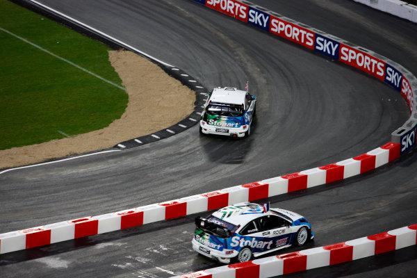 Wembley Stadium, London.  14th December 2008. RoC Nations Cup: Mattias Ekstrom for Team Scnadinavia v Sebastien Loeb for Team France in the Ford Focus WRC 08. Action. World Copyright: Colin McMaster/LAT Photographic ref: Digital Image _CMS6895