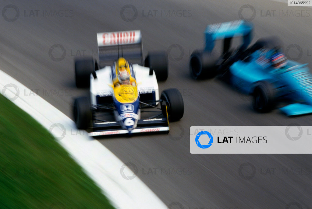 1987 Italian Grand Prix. Monza, Italy. 6 September 1987. Nelson Piquet (Williams FW11B Honda), 1st position, races up the inside of Ivan Capelli ( Leyton House March 871 Ford), 13th position. Ref: 87_ITA_03 A Race Through Time exhibition number 92. World Copyright: LAT Photographic