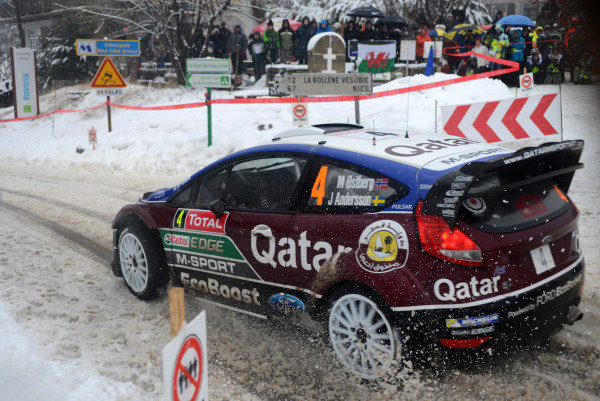 Mads Ostberg (NOR) and Jonas Andersson (SWE), Ford Fiesta RS WRC on stage 14. FIA World Rally Championship, Rd1, Rally Monte- Carlo, Day Four, Monte-Carlo, Monaco, 19 January 2013.