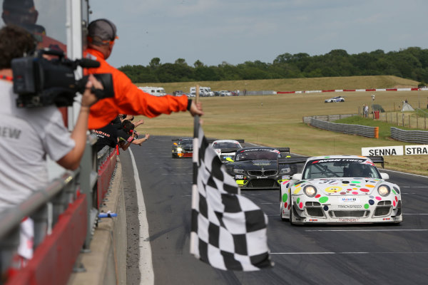 2013 British GT Championship, Snetterton, Norfolk. 15th - 16th June 2013. David Ashburn / Nick Tandy Trackspeed Porsche 997 GT3R. World Copyright: Ebrey/LAT Photographic.
