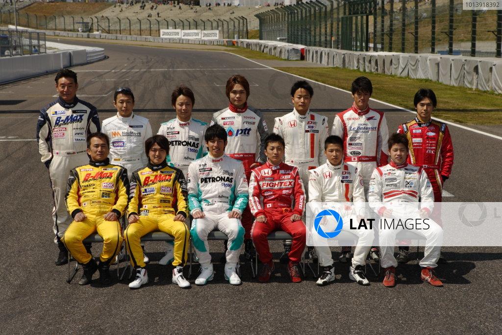 Suzuka, Japan. 13th - 14th April 2013. Rd 1. Drivers group photo, portrait World Copyright: Yasushi Ishihara/LAT Photographic Ref: 2013_JF3_Rd1&2_021