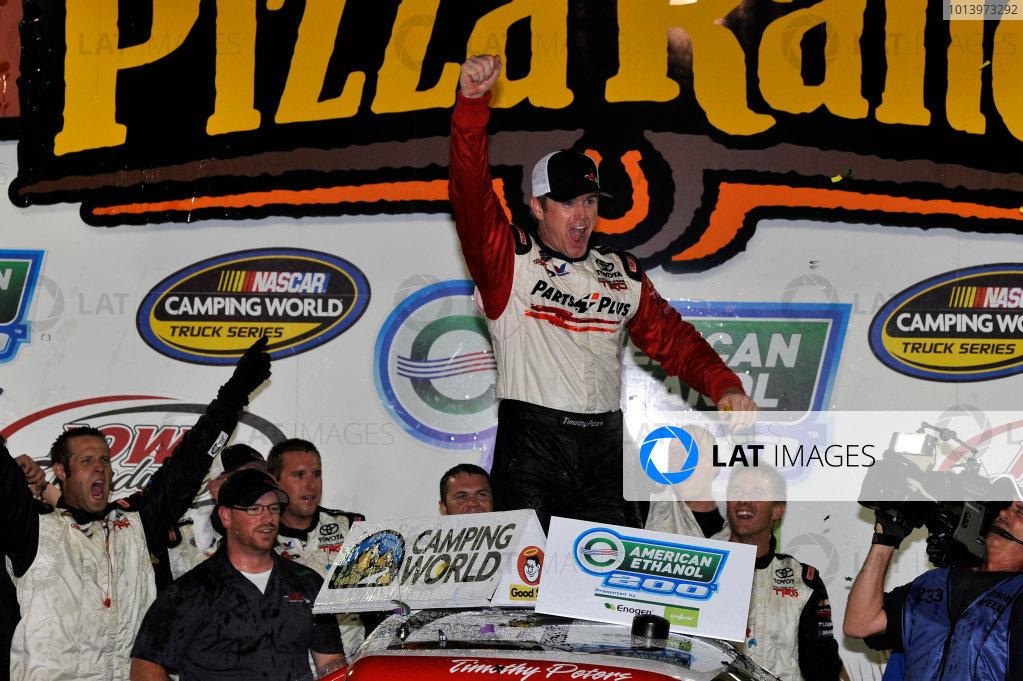 12-13 July, 2013, Newton, Iowa USA Timothy Peters Celebrates the win in victory lane ©2013, Scott R LePage LAT Photo USA