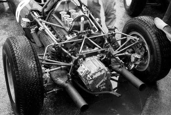 The V8 BRM engine powering the BRM P48/57 of Richie Ginther (USA). Monaco Grand Prix, Monte Carlo, 3 June 1962.