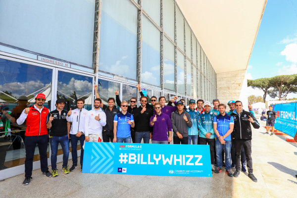 All Formula E drivers pose for a photo with the hashtag BillyWhizz.