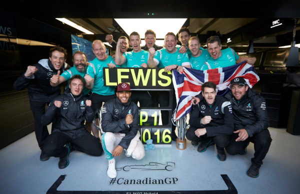 Circuit Gilles Villeneuve, Montreal, Canada. Sunday 12 June 2016. Lewis Hamilton, Mercedes AMG, 1st Position, celebrates after the race with his team. World Copyright: Steve Etherington/LAT Photographic ref: Digital Image SNE29916