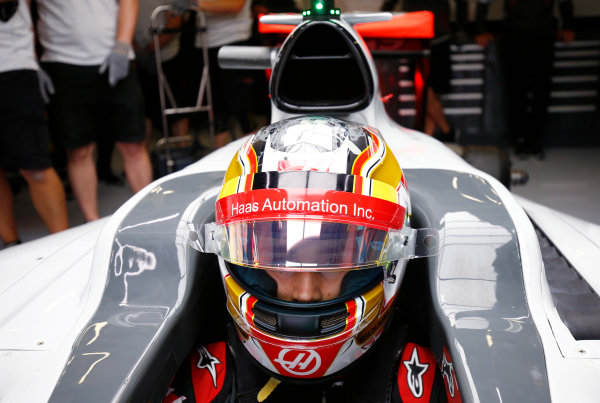 Silverstone, Northamptonshire, UK Friday 08 July 2016. Haas F1 development driver Charles Leclerc in cockpit ahead of FP1. World Copyright: Andy Hone/LAT Photographic ref: Digital Image _ONZ8755