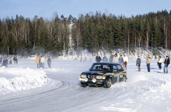 1979 World Rally Championship.Swedish Rally, Sweden. 16-18 February 1979.Stig Blomqvist/Bjorn Cederberg (SAAB 99 Turbo), 1st position.World Copyright: LAT PhotographicRef: 35mm transparency 79RALLY17