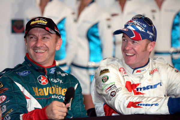 2004 Australian V8 SupercarsSymmons Plain Raceway, Tasmania. November 14th.V8 Supercar driver and round winner Russell Ingall (L) and 2nd place driver Greg Murphy at Round 12. Portrait.World Copyright: Mark Horsburgh/LAT Photographicref: Digital Image Only