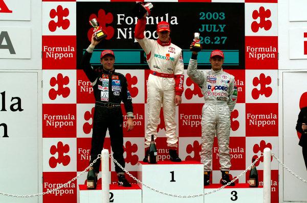 2003 Formula Nippon ChampionshipSugo, Japan. 27th July 2003.Round 11, podium.World Copyriht: Yasushi Ishihara/LAT Photographicref: Digital Image Only