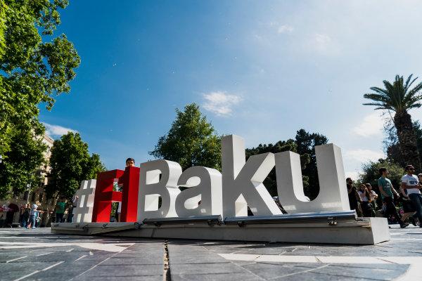 Baku City Circuit, Baku, Azerbaijan. Wednesday 21 June 2017. Promotional hashtag in Fountain Square. World Copyright: Glenn Dunbar/LAT Images ref: Digital Image DSC01422