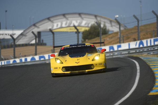 2017 Le Mans 24 Hours test day. Circuit de la Sarthe, Le Mans, France. Sunday 4 June 2017 #64 Corvette Racing Corvette C7.R: Oliver Gavin, Tommy Milner, Marcel Fassler World Copyright: Rainier Ehrhardt/LAT Images ref: Digital Image DSC_5953