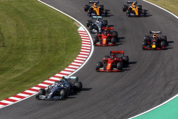 Valtteri Bottas, Mercedes AMG W10, leads Sebastian Vettel, Ferrari SF90, Max Verstappen, Red Bull Racing RB15, Charles Leclerc, Ferrari SF90, Lewis Hamilton, Mercedes AMG F1 W10, Carlos Sainz Jr., McLaren MCL34, Lando Norris, McLaren MCL34, at the start