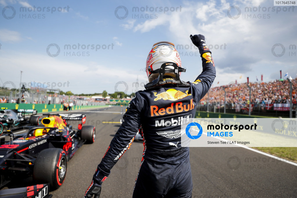 Pole Sitter Max Verstappen, Red Bull Racing celebrates in Parc Ferme