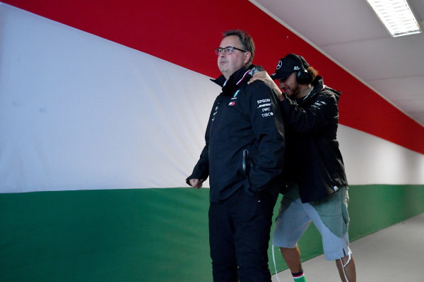 Ron Meadows, Sporting Director, Mercedes AMG, and Lewis Hamilton, Mercedes AMG F1