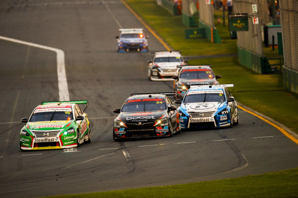 Rick Kelly, Kelly Racing, Nissan, leads James Golding, Garry Rodgers Motorsport, Holden and Garry Jacobson, Kelly Racing, Nissan