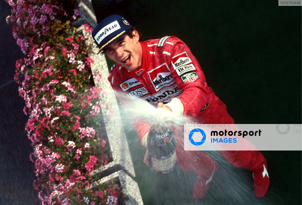 Ayrton Senna (BRA) McLaren celebrates his fifth and final success at the legendary Spa circuit. Formula One Championship, Belgian Grand Prix, Rd 11, Spa-Francorchamps, Belgium, 25 August 1991.