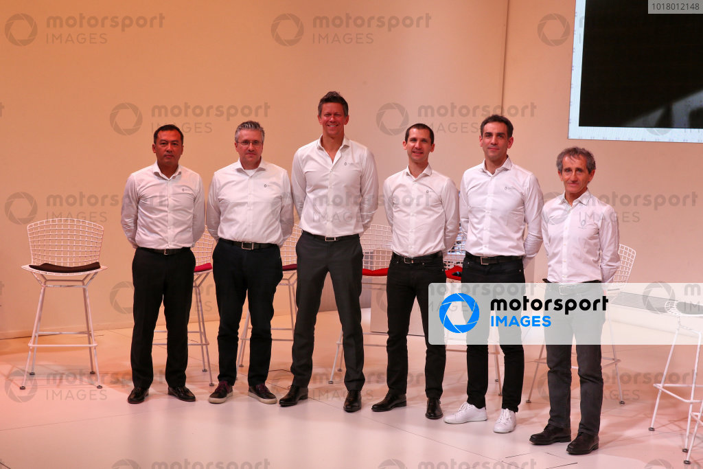 (L to R): Pat Fry (GBR) Renault F1 Team Technical Director (Chassis); Marcin Budkowski (POL) Renault F1 Team Executive Director; Remi Taffin (FRA) Renault Sport F1 Engine Technical Director; Mia Sharizman (MAL) Renault Sport Academy Director; Cyril Abiteboul (FRA) Renault Sport F1 Managing Director; Alain Prost (FRA) Renault F1 Team Non-Executive Director. Copyright: James Moy/XPB/Renault F1