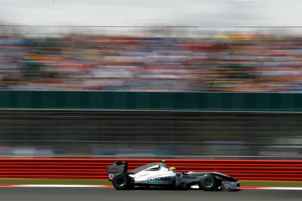 Silverstone, Northamptonshire, England9th July 2010Nico Rosberg, Mercedes GP W01. Action. World Copyright: Glenn Dunbar/LAT Photographicref: Digital Image _G7C5081