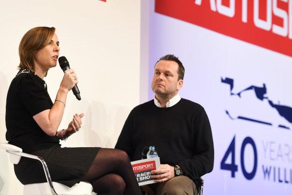 Autosport International Exhibition. National Exhibition Centre, Birmingham, UK. Sunday 15 January 2017. Claire Williams talks to Henry Hope-Frost. World Copyright: Sam Bagnall/LAT Images Ref: DSC_5663