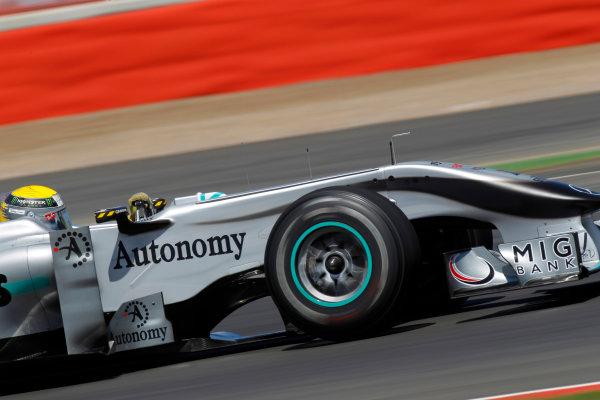 Silverstone, Northamptonshire, England9th July 2010Nico Rosberg, Mercedes GP W01. Action. World Copyright: Glenn Dunbar/LAT Photographicref: Digital Image _G7C5171