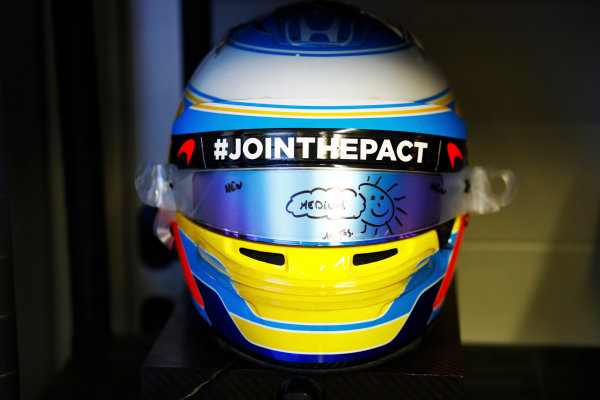 Sochi Autodrom, Sochi, Russia. Thursday 27 April 2017. The crash helmet of Fernando Alonso, McLaren.  World Copyright: Steven Tee/LAT Images ref: Digital Image _R3I0771