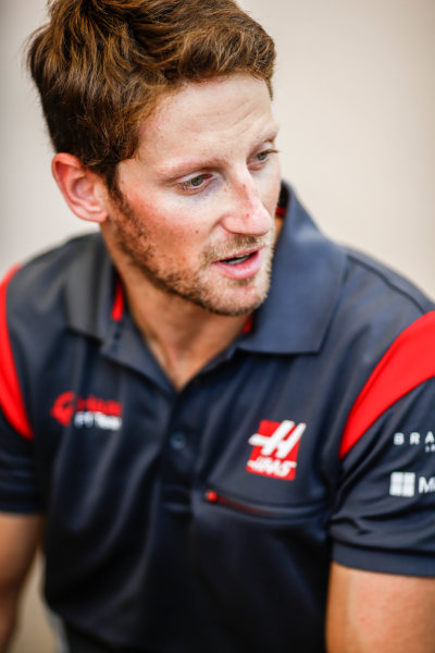 Bahrain International Circuit, Sakhir, Bahrain.  Thursday 13 April 2017. Romain Grosjean, Haas F1. World Copyright: Andy Hone/LAT Images ref: Digital Image _ONZ6754