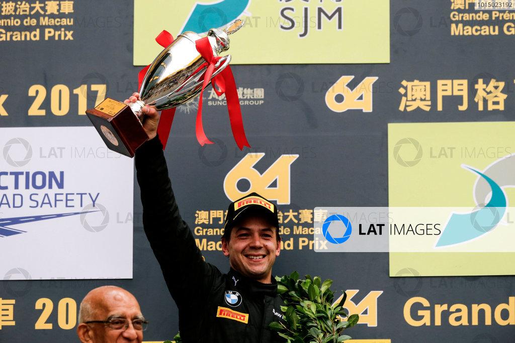 2015 FIA GT World Cup Circuit de Guia, Macau, China Saturday 18 November 2017. Podium: second place Augusto Farfus, BMW Team Schnitzer, BMW M6 GT3  World Copyright: Alexander Trienitz/LAT Images ref: Digital Image 2017-Macau-GP-JG1-1278