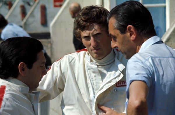 (L-R) Pedro Rodriguez (MEX) Cooper, Jochen Rindt (AUT) Cooper and Roy Salvadori (GBR). Formula One World Championship, Rd5, French Grand Prix, Le Mans Bugatti, France. 2 July 1967. BEST IMAGE