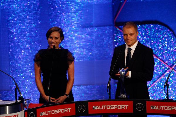 2014 Autosport Awards. Grosvenor House Hotel, Park Lane, London. Sunday 7 December 2014. Claire Williams and Valtteri Bottas World Copyright: Sam Bloxham/LAT Photographic. ref: Digital Image _G7C2573