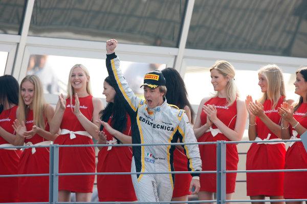 Autodromo di Monza, Monza, Italy. 9th September. Sunday RaceDavide Valsecchi (ITA, Dams) celebrates his victory on the podium. World Copyright: Alastair Staley/GP2 Media Serviceref: Digital Image _O9T9779.jpg