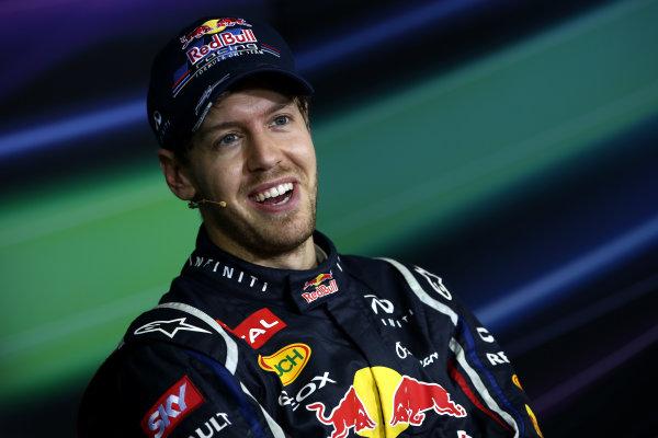 Interlagos, Sao Paulo, Brazil. Sunday 25th November 2012. Sebastian Vettel, Red Bull Racing, in the post race Press Conference. World Copyright:Andy Hone/LAT Photographic ref: Digital Image HONY3339