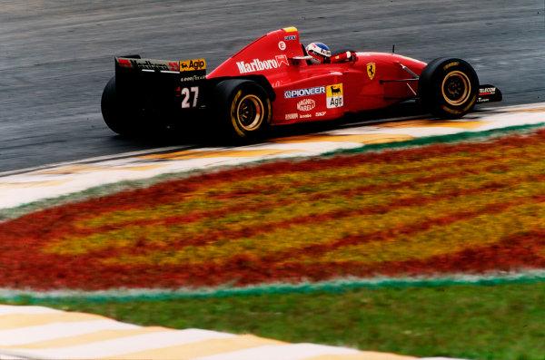 Interlagos, Sao Paulo, Brazil.24-26 March 1995.Jean Alesi (Ferrari 412T2) 5th position.Ref-95 BRA 26.World Copyright - LAT Photographic