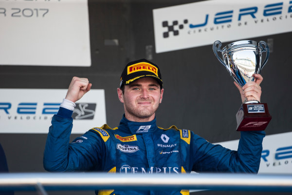 2017 FIA Formula 2 Round 10. Circuito de Jerez, Jerez, Spain. Sunday 8 October 2017. Oliver Rowland (GBR, DAMS) on the podium. Photo: Andrew Ferraro/FIA Formula 2. ref: Digital Image _FER3723