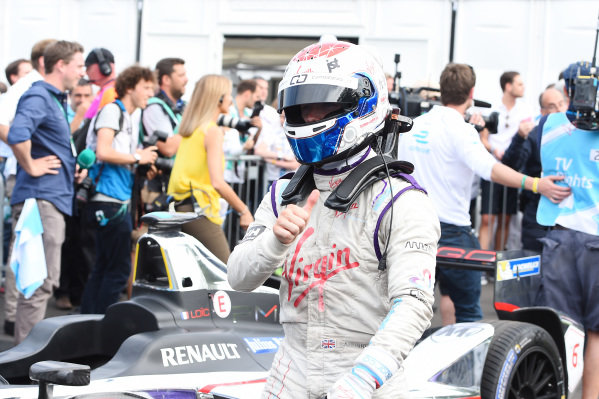 Race winner Sam Bird (GBR) Virgin Racing celebrates in parc ferme at Formula E Championship, Rd11, London, England, 28 June 2015.