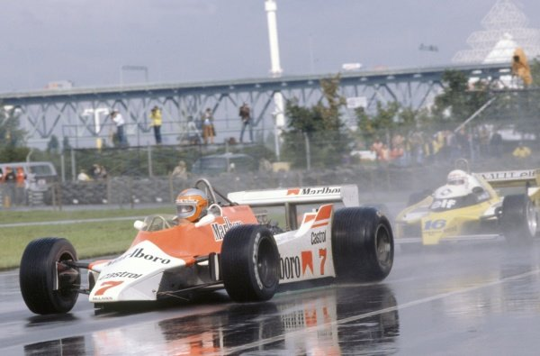 1980 Canadian Grand Prix.Montreal, Canada. 26-28 September 1980.John Watson (McLaren M29C-Ford Cosworth), 4th position, leads Rene Arnoux (Renault RE20).World Copyright: LAT PhotographicRef: 35mm transparency 80CAN08