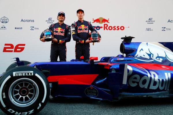 Toro Rosso STR12 Formula 1 Launch. Barcelona, Spain  Sunday 26 February 2017. Carlos Sainz Jr, Toro Rosso. and Daniil Kvyat, Toro Rosso.   World Copyright: Dunbar/LAT Images Ref: _X4I9571